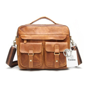 Yoome Men's Sturdy Genuine Leather Laptop Bag Briefcase Shoulder Bag Vintage Handbag