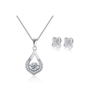 Yoome Sterling Silver Cubic Zirconia Teardop Pendant Necklace Womens Heart Necklace and Earrings Jewellery Gift