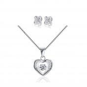 Yoome 925 Sterling Silver Dancing Jewel Pendant Necklace Forever Love Heart Necklace and Earrings Set Valentine's Day Gift