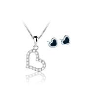 Yoome 925 Sterling Silver Infinity Love Heart Necklace and Earrings Set Platinum Plated Round CZ Diamond Fine Woman's jewellery 46cm