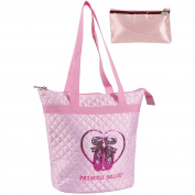 kilofly Girls Quilted Ballerina Ballet Slippers Dance Tote Bag + Zippered Pouch