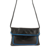 DUDU Clutch Bag Purse for Womens in Real Multi-colour Leather with zip and detachable shoulder strap Black