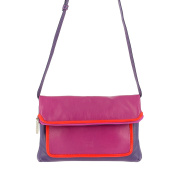 DUDU Clutch Bag Purse for Womens in Real Multi-colour Leather with zip and detachable shoulder strap Fuchsia