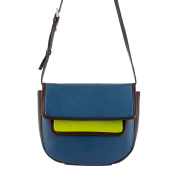DUDU Multi-colour Shoulder Bag for womens in Leather Nappa coloured with flap and magnetic button Woods