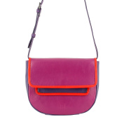 DUDU Multi-colour Shoulder Bag for womens in Leather Nappa coloured with flap and magnetic button Fuchsia