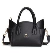 OURBAG Women's Summer Fashion Top Handle Cute Cat Cross Body Shoulder Bag Black
