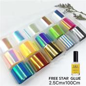 Native99 15 Colours Nail Star Sticker+1PC Star Glue Set Nail Art Transfer Foil