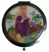 Women's Compact Mirror/Magnified/Travel/Magnifying Make-Up Mirror - Travel Mirror/ Two sided Mirror - Woman Relaxing With Nature