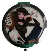 Women's Compact Mirror/Magnified/Travel/Magnifying Make-Up Mirror - Travel Mirror/ Two sided Mirror - Chic Lady And Her Dog