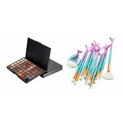 Sharplace 11x Eye Lip Blush Comestic Fan Brush+54Color Matte Shimmer Eyeshadow Palette