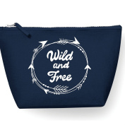 Wild And Free Arrow Circle Statement Make Up Bag - Cosmetic Canvas Case