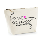 Love Is Sweet Statement Make Up Bag - Cosmetic Canvas Case