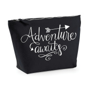 Adventure Awaits Statement Make Up Bag - Cosmetic Canvas Case