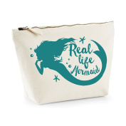 Real Life Mermaid Statement Make Up Bag - Cosmetic Canvas Case