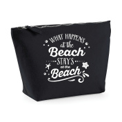 What Happens At The Beach Stays At The Beach Statement Make Up Bag - Cosmetic Canvas Case