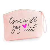 Love Is All You Need Statement Make Up Bag - Organic Cosmetic Wristlet Case