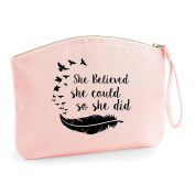She Believed She Could So She Did Feather Birds Statement Make Up Bag - Organic Cosmetic Wristlet Case