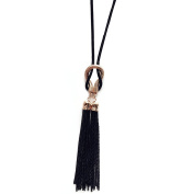 PetHot Necklace for Women Black Chain Tassel Sweater Long Exquisite Fashion