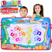 Aqua Doodle Mat AMENON 6 Colour Dinosaur Super Large Magic Water Drawing Painting Writing Mat Pad Board with 4 Magic Pens Clips Kids Educational Sketch Learning Toy Gift for Boys Girls 90cm x 60cm