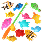 12PCS Fish Magnetic Fishing Toys Colourful Magnet Fishing Game with Fishing Rod for Kids Toddlers