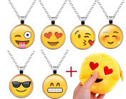 6pcs Emoji Necklace Set, Emoji Party Favours for Girls Kids with Cute Emoji Purse