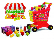 Toddler Learning Fun - Kids Play Market Shopping Cart Trolley and Food Set for Pretend Game Playtime Boys & Girls