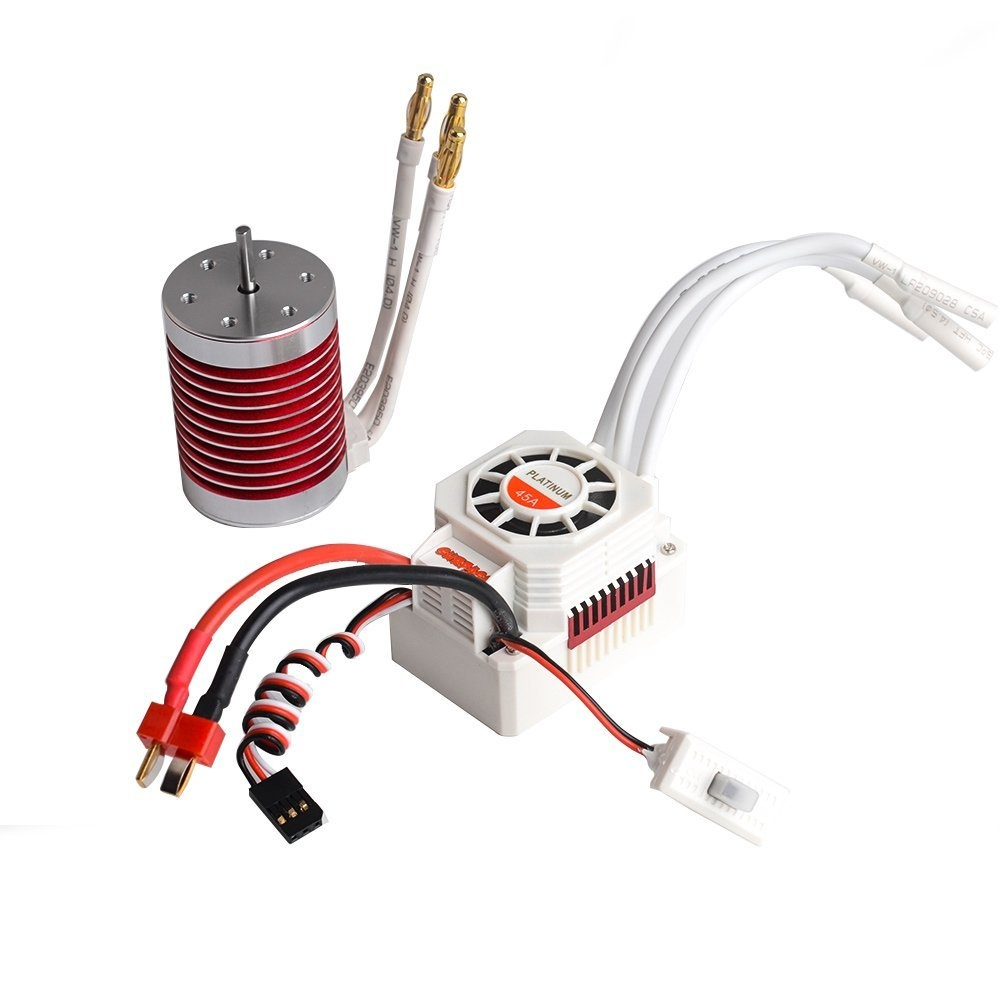 Jrelecs F540 4370KV 4 pole 3 175mm Waterproof Brushless Motor with 45A  Waterproof ESC Electronic Speed Controller for 1/10 1:10 Scale RC car  WLtoys