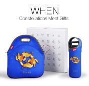 Best Birthday Gifts, Zodiac Neoprene Lunch Tote Bag set, Insulated Lunch Bag with Shoulder Strap with Bottle Sleeve, Best Christmas Gift set for Women Men Adults Kids, Pisces