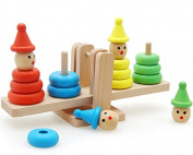 HSOMiD Wooden Clown Rainbow Stacker Seesaw Balance Scale Board Balancing Game for Kids