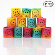 iMagitek 24pcs Mini Smiley Magic Plastic Slinky Rainbow Spring Colourful Funny Classic Toy For Children Gift, Children's Toy Party Bag Favours