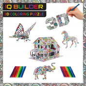 IQ BUILDER   3D ART colouring PUZZLES FOR KIDS AND ADULTS   BEST FUN CREATIVE ARTS AND CRAFTS KIT TOY GIFT SET FOR BOYS AND GIRLS AGES 8 9 10 11 12 YEAR OLD   EASY PAINTING STRESS RELAXATION   ANIMALS
