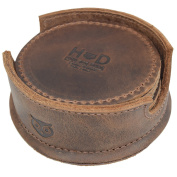 Durable Waxed Canvas and Leather Coasters for Table / Home / Office / Bar / Kitchen, Glass & Cups Stain Protection W/Deep Tray Holder (8-Pack) Handmade by Hide & Drink :