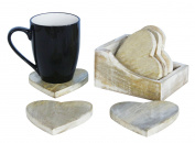 Shabby Chic Rustic Wooden Heart Set Of 6 Coasters & Wood Holder for Tea Coffee Home Decor