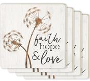 Faith Hope & Love Dandelion White 4 x 4 Ceramic Coaster 4 Pack