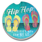 CounterArt Absorbent Stoneware Car Coaster, Flip Flop Memories Are The Best