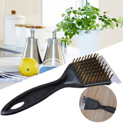 Fdrirect Brass Wire Barbecue Brush BBQ Scraper Cleaning Brush Kitchen Cleaning Brush Outdoor Kitchen Supply Kitchen Clea