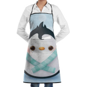Novelty Animal Love Cute Penguins Kitchen Chef Apron With Big Pockets - Chef Apron For Cooking,Baking,Crafting,Gardening And BBQ