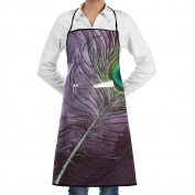 Novelty Peacock Colourful Feather Kitchen Chef Apron With Big Pockets - Chef Apron For Cooking,Baking,Crafting,Gardening And BBQ