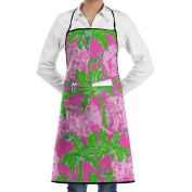 Novelty Tropical Palm Floral Elephant Kitchen Chef Apron With Big Pockets - Chef Apron For Cooking,Baking,Crafting,Gardening And BBQ