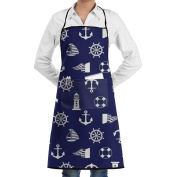 Novelty Ocean Anchor Helm Pattern Kitchen Chef Apron With Big Pockets - Chef Apron For Cooking,Baking,Crafting,Gardening And BBQ