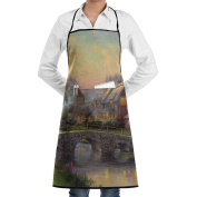 Novelty Peaceful Village Landscape Painting Kitchen Chef Apron With Big Pockets - Chef Apron For Cooking,Baking,Crafting,Gardening And BBQ