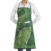 Novelty Bold Banana Leaf Kitchen Chef Apron With Big Pockets - Chef Apron For Cooking,Baking,Crafting,Gardening And BBQ