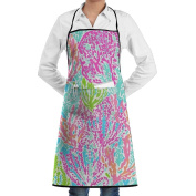 Novelty Seaweed Colourful Painting Kitchen Chef Apron With Big Pockets - Chef Apron For Cooking,Baking,Crafting,Gardening And BBQ