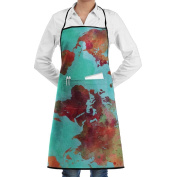 Novelty Watercolour World Map Kitchen Chef Apron With Big Pockets - Chef Apron For Cooking,Baking,Crafting,Gardening And BBQ