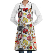 Novelty Japanese Talisman Kitchen Chef Apron With Big Pockets - Chef Apron For Cooking,Baking,Crafting,Gardening And BBQ