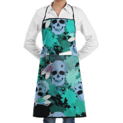 Novelty Decorative Skull Kitchen Chef Apron With Big Pockets - Chef Apron For Cooking,Baking,Crafting,Gardening And BBQ