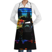 Novelty Tie Dye Palm Trees Sunset Kitchen Chef Apron With Big Pockets - Chef Apron For Cooking,Baking,Crafting,Gardening And BBQ