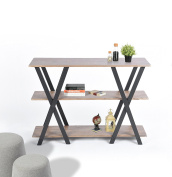 Light Brown Finish Shelves / Metal X-Frame 3-tier Console Sofa Table