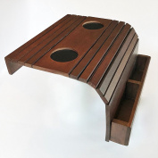 Sofa Arm Tray - Flexible Portable Coach Table - With Two 7.6cm Drink Holder and Remote Control Box - Dark Brown - Wood