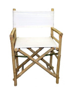 TallBamboo Director Chair for bar counter, White Canvas, Set of 2